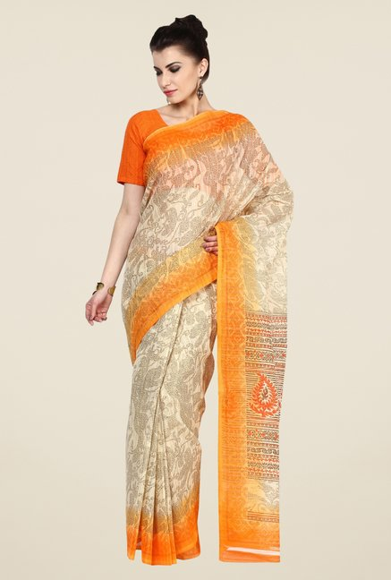 Triveni Beige Printed Free Size Dry Clean Saree