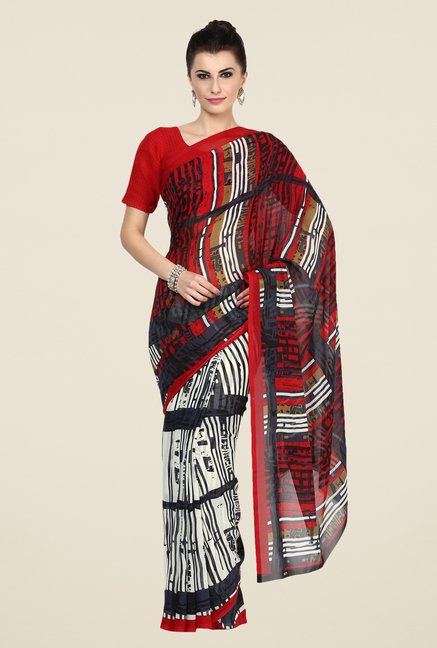 Triveni Multicolor Striped Faux Georgette Saree