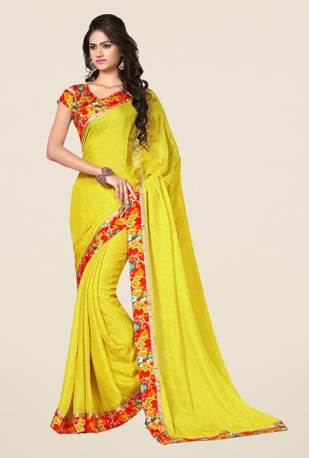 Triveni Yellow Printed Satin Chiffon Saree