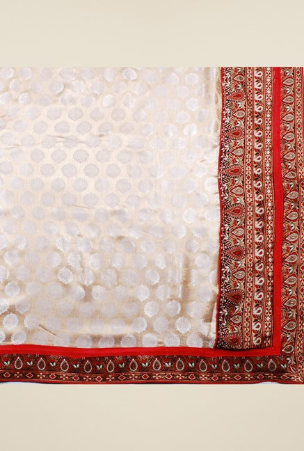 Triveni Beige Printed Art Silk Viscose