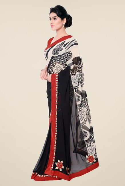 Triveni Black & Beige Printed Faux Georgette Saree