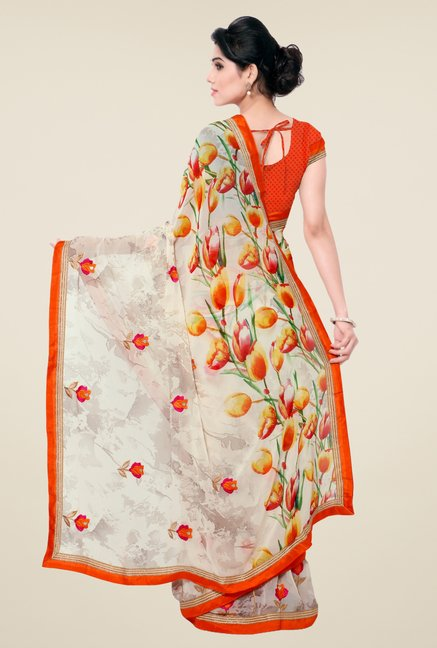 Triveni Off White Floral Faux Georgette Saree