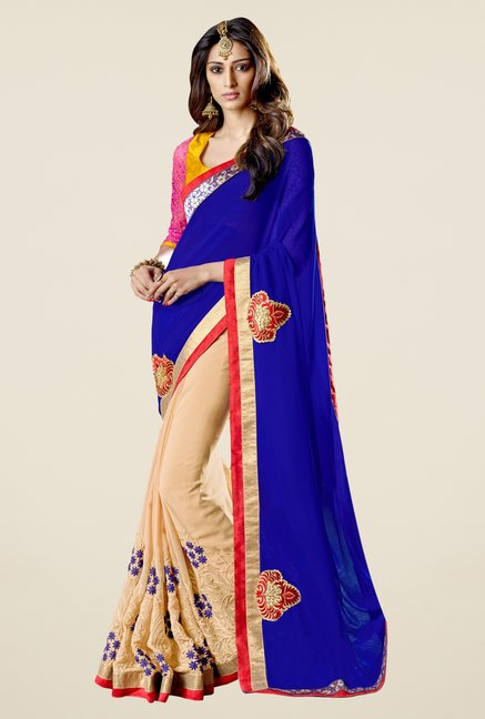 Triveni Beige Embroidered Faux Georgette Free Size Saree