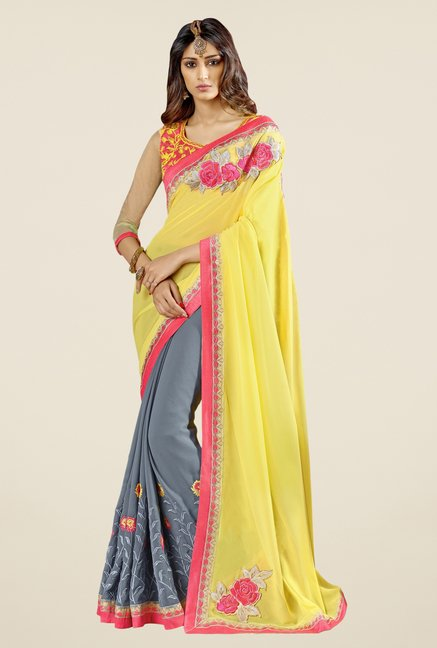 Triveni Grey Embroidered Faux Georgette Saree