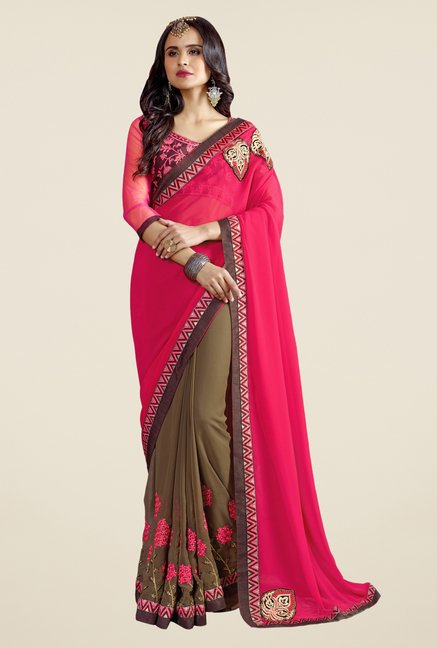 Triveni Brown Embroidered Faux Georgette Free Size Saree