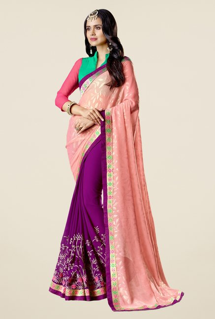 Triveni Purple Embroidered Faux Georgette Free Size Saree