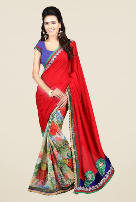 Triveni Multicolor Printed Jacquard Saree