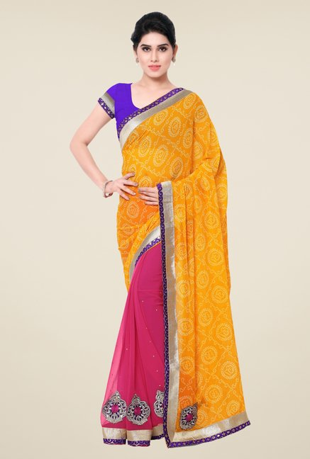 Triveni Pink & Yellow Printed Chiffon Saree