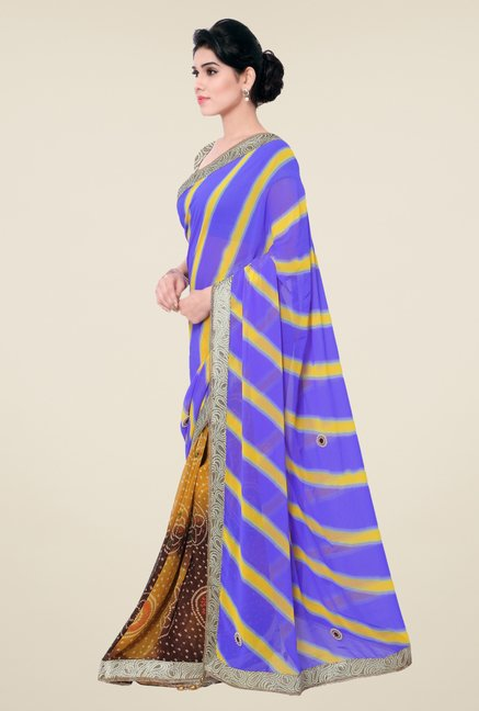 Triveni Yellow & Blue Printed Faux Georgette Saree