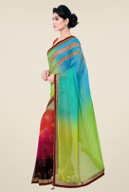 Triveni Multicolor Printed Georgette Chiffon Saree