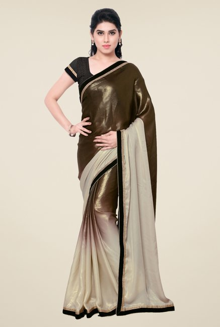 Triveni Brown Solid Georgette Shimmer Saree