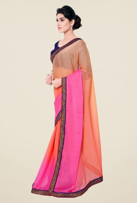 Triveni Peach & Pink Solid Faux Georgette Saree