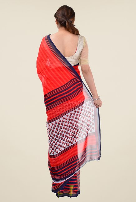 Triveni Red Printed Dry Clean Saree