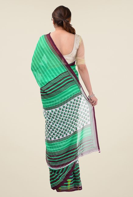 Triveni Green Faux Georgette Dry Clean Saree