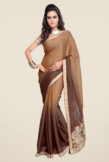 Triveni Beige & Brown Solid Faux Georgette Saree