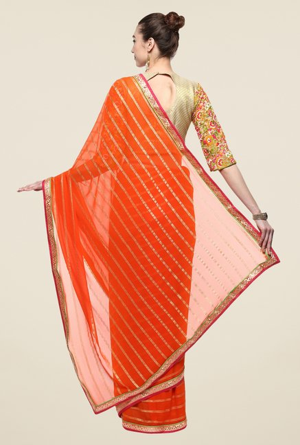 Triveni Orange Striped Faux Georgette Saree