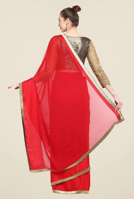 Triveni Red Solid Faux Georgette Saree