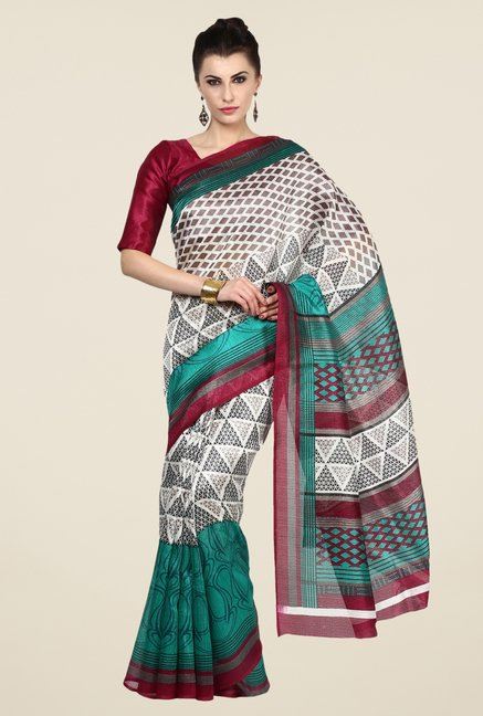 Triveni Off White Printed Art Silk Saree