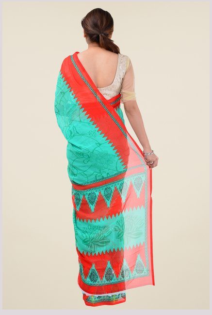 Triveni Green Printed Saree