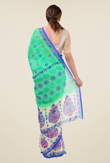 Triveni Green Printed Faux Georgette Free Size Saree