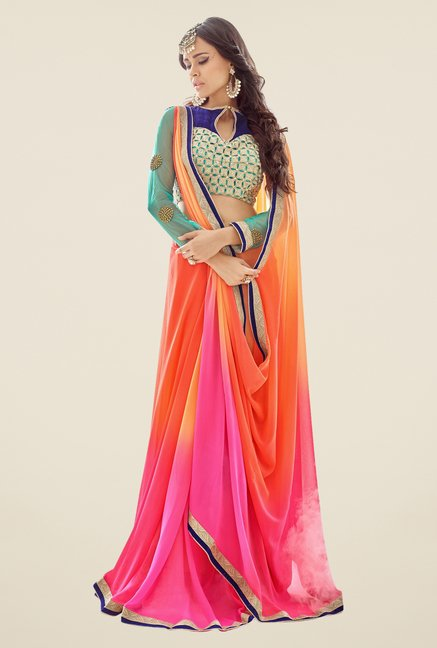 Triveni Multicolor Solid Faux Georgette Saree