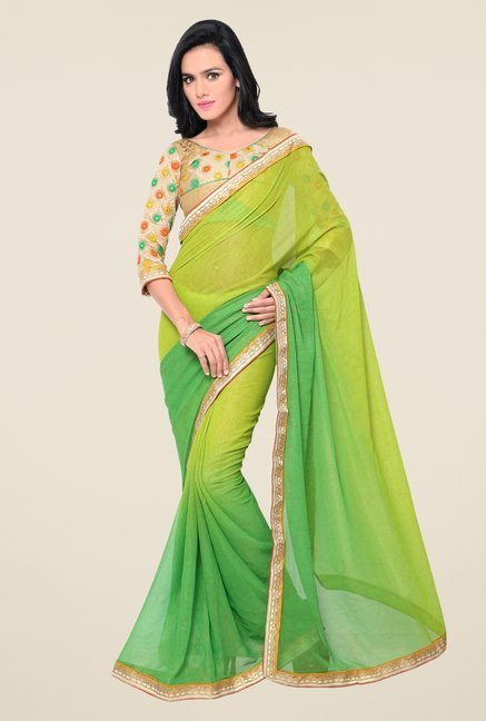 Triveni Green Solid Georgette Shimmer Saree
