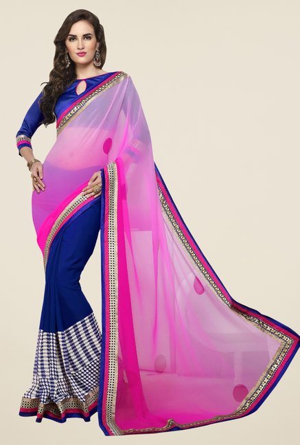 Triveni Blue Printed Dry Clean Saree
