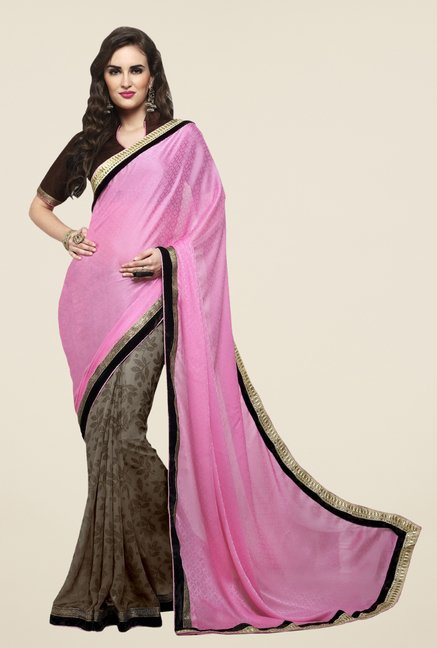 Triveni Grey Printed Jacquard Georgette Saree