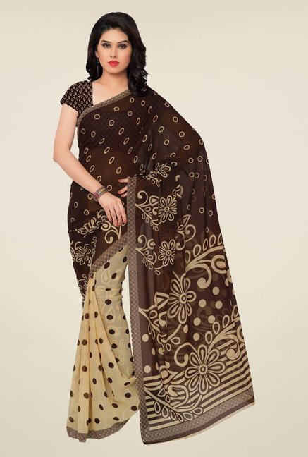 Triveni Beige & Brown Printed Faux Georgette Saree