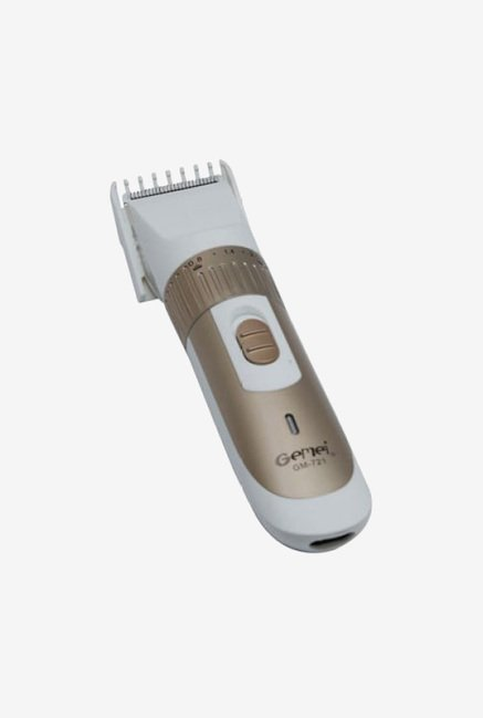 Gemei TRI-721-G Trimmer for Men (White & Gold)