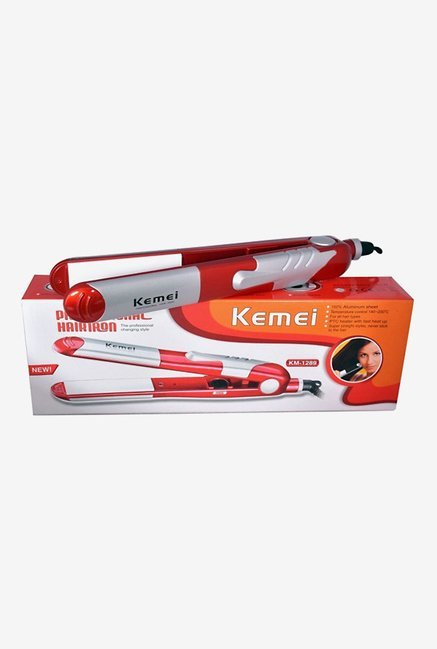 Kemei Hair Iron Hair Straightener (Red & Silver)