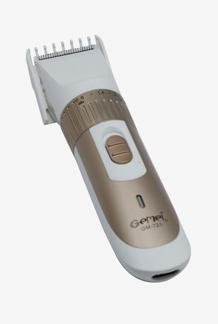 Gemei GM 721 Rechargeable Trimmer for Men (White/Gold)