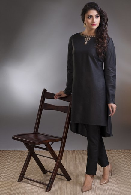 Fabindia Black Solid Tunic