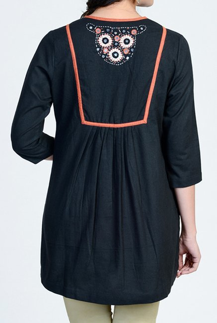 Fabindia Black Embroidered Tunic