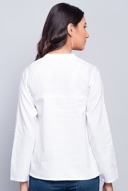 Fabindia White Solid Shirt