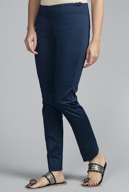 Fabindia Navy Solid Trousers