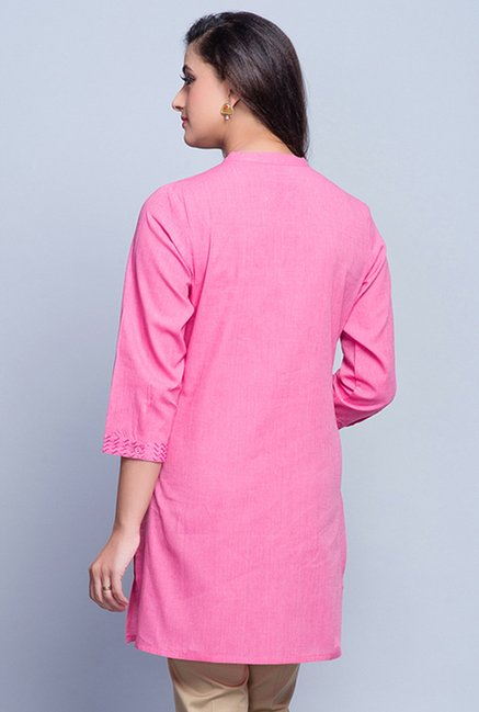 Fabindia Pink Embroidered Kurti