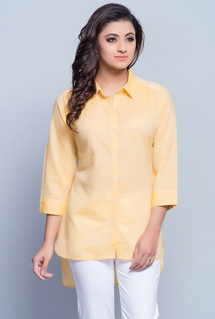 Fabindia Orange Solid Tunic