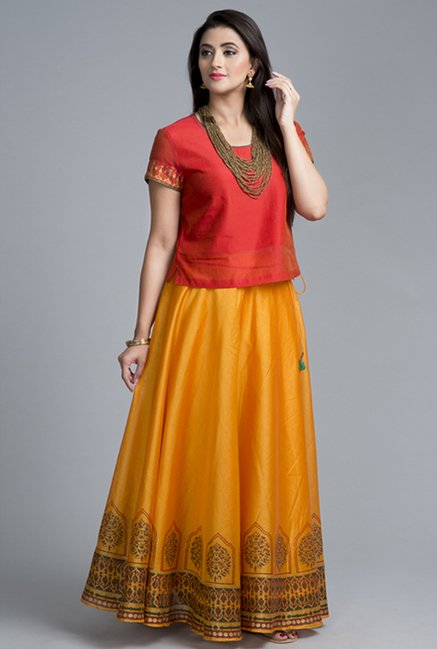 Fabindia Gold Printed Skirt