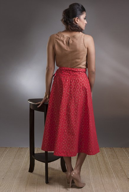 Fabindia Fuschia Printed Skirt