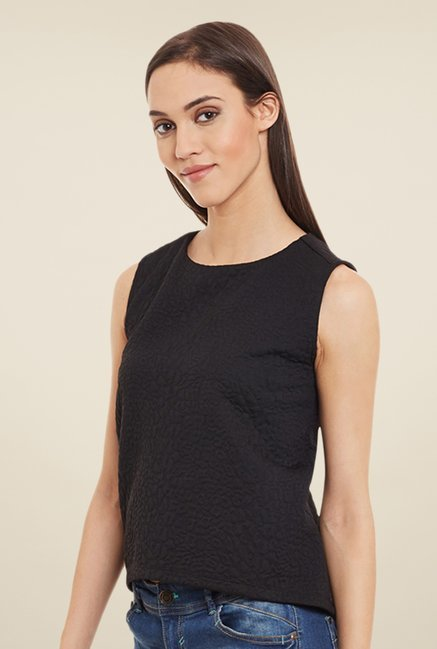 Femella Black Self Print Top