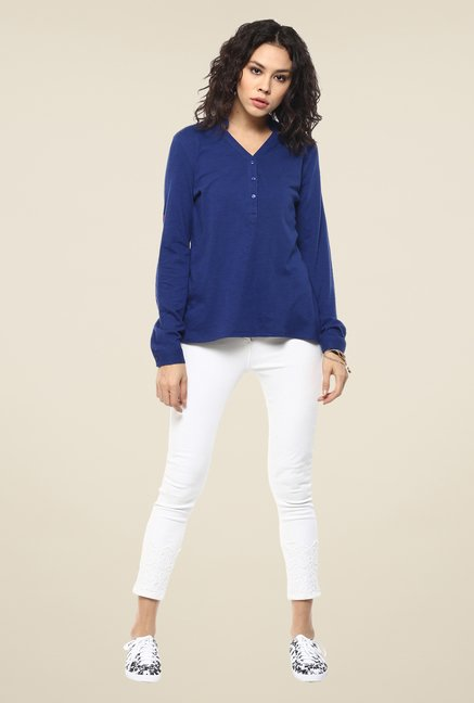 Femella Royal Blue Solid Top