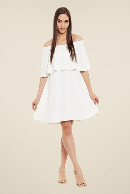 Femella White Solid Dress
