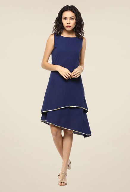 Femella Navy Solid Dress