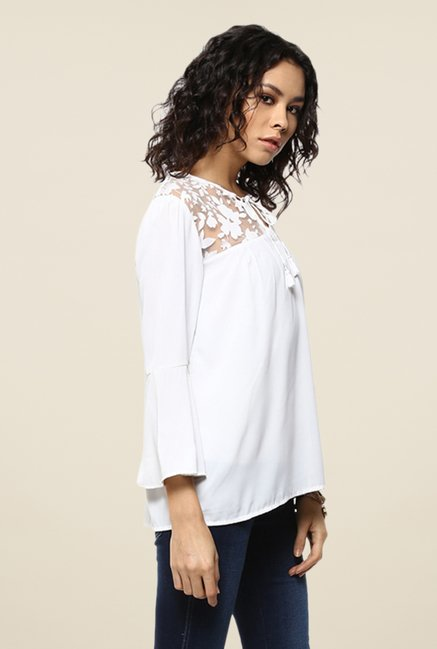 Femella White Floral Printed Top