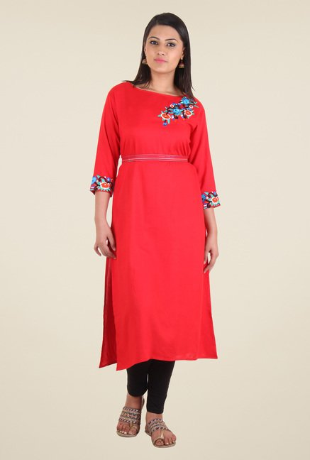 Shree Red Rayon Embroidered Kurta