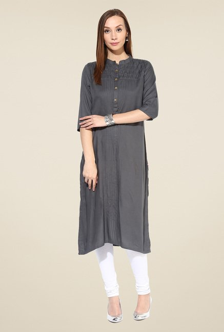 Shree Grey Rayon Solid Kurta