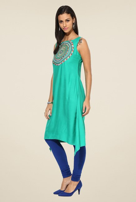 Shree Green Rayon Embroidered Kurta