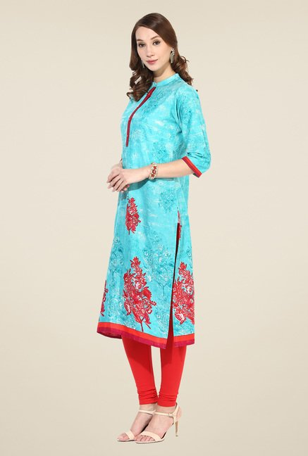 Shree Turquoise Cotton Floral Print Kurta