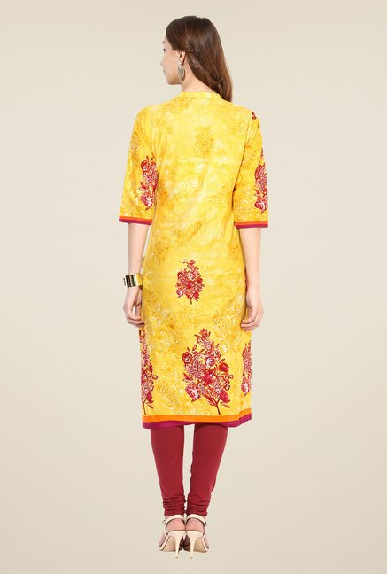 Shree Yellow Cotton Floral Print Kurta